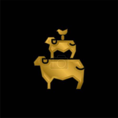 Illustration pour Icône métallique plaqué or animaux ou vecteur de logo - image libre de droit