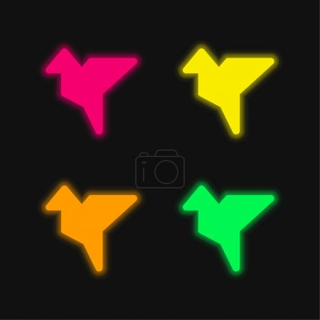 Illustration for Bird Shape Origami four color glowing neon vector icon - Royalty Free Image