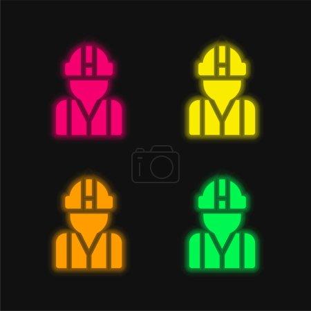 Illustration pour Architecte quatre couleurs brillant icône vectorielle néon - image libre de droit