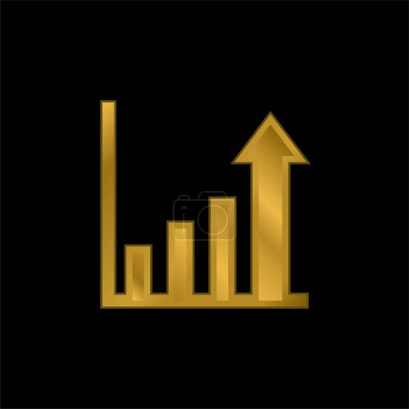 Illustration for Bar Chart gold plated metalic icon or logo vector - Royalty Free Image