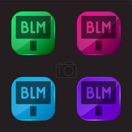 Illustration pour Black Lives Matter icône bouton en verre quatre couleurs - image libre de droit