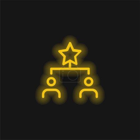 Illustration pour Meilleure icône au néon jaune - image libre de droit