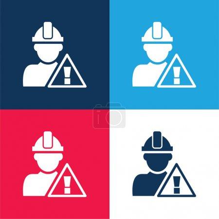 Illustration pour Signal d'attention et travailleur de la construction bleu et rouge ensemble d'icône minimale de quatre couleurs - image libre de droit
