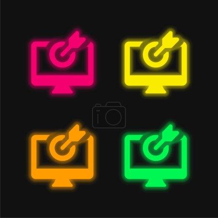 Photo pour Flèche quatre couleur rougeoyante icône vectorielle néon - image libre de droit