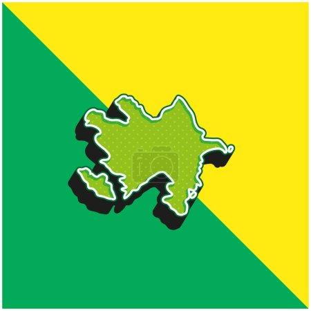 Azerbaijan Green and yellow modern 3d vector icon logo