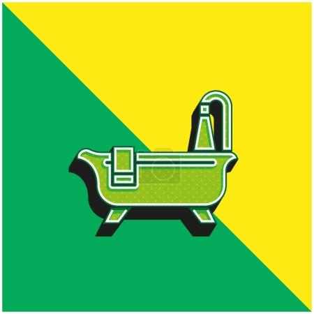 Bañera de limpieza verde y amarillo moderno vector 3d icono logo