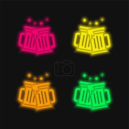 Illustration pour Bières quatre couleurs brillant icône vectorielle néon - image libre de droit