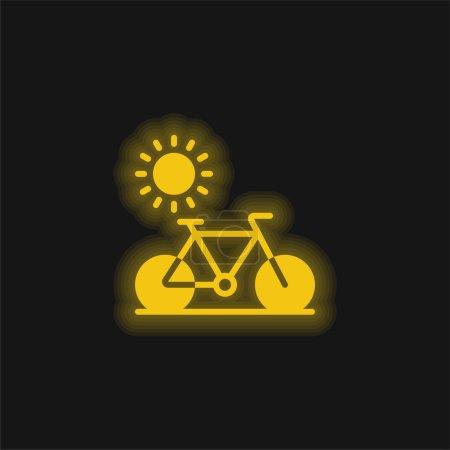 Illustration pour Vélo jaune brillant icône néon - image libre de droit