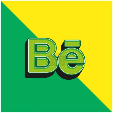 Illustration for Behance Green and yellow modern 3d vector icon logo - Royalty Free Image