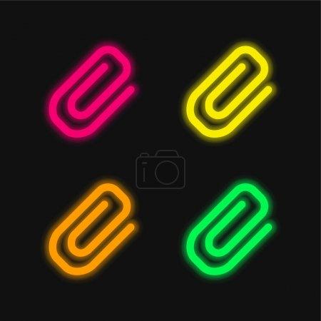 Illustration pour Pièce jointe Diagonale Symbole D'un Paperclip quatre couleur brillant néon vecteur icône - image libre de droit