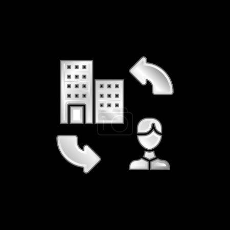 Illustration pour Icône métallique argentée B2c - image libre de droit