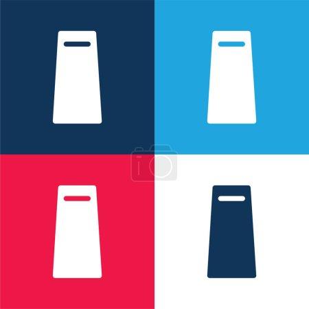 Photo pour Sac bleu et rouge quatre couleurs minimum jeu d'icônes - image libre de droit