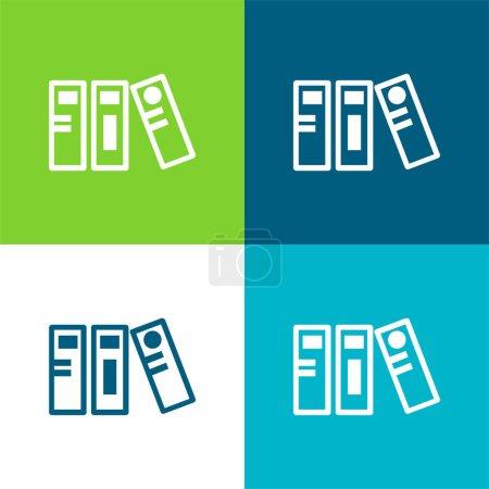 Archives Flat four color minimal icon set