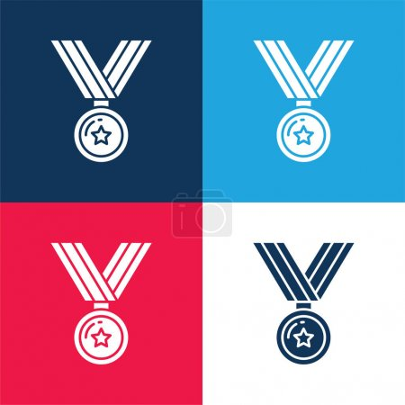 Illustration for Award blue and red four color minimal icon set - Royalty Free Image