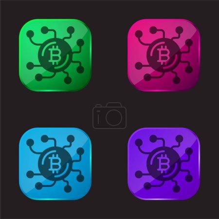 Bitcoin four color glass button icon