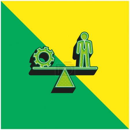 Illustration for Balancing Between Cogwheel And Businessman Green and yellow modern 3d vector icon logo - Royalty Free Image