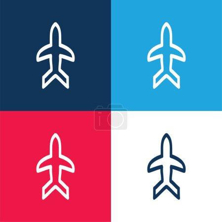 Avion dessiné à la main contour pointant vers le haut bleu et rouge quatre couleurs ensemble d'icône minimale