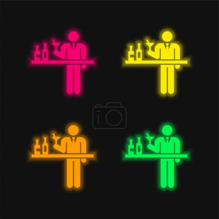 Photo pour Barman quatre couleurs brillant icône vectorielle néon - image libre de droit