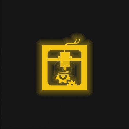 Illustration for 3d Printer Settings Interface Symbol yellow glowing neon icon - Royalty Free Image
