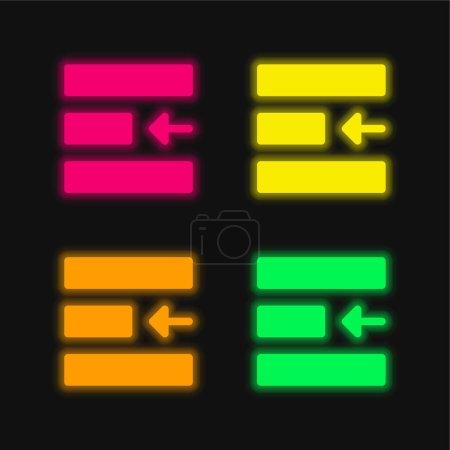 Photo pour Aligner quatre couleurs rougeoyantes icône vectorielle néon - image libre de droit
