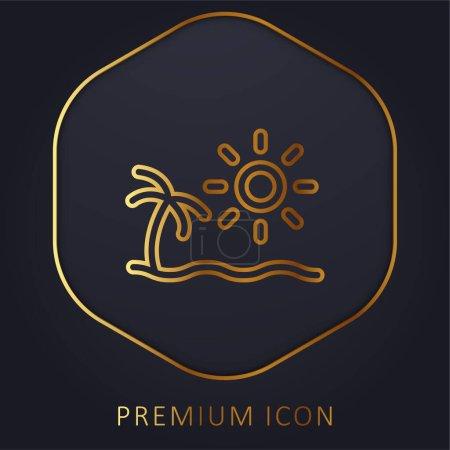 Illustration pour Ligne d'or plage logo premium ou icône - image libre de droit