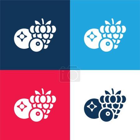 Illustration pour Baies bleu et rouge quatre couleurs minimum jeu d'icônes - image libre de droit