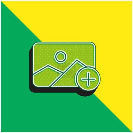 Illustration pour Ajoutez le logo d'icône vectorielle 3d moderne vert et jaune - image libre de droit