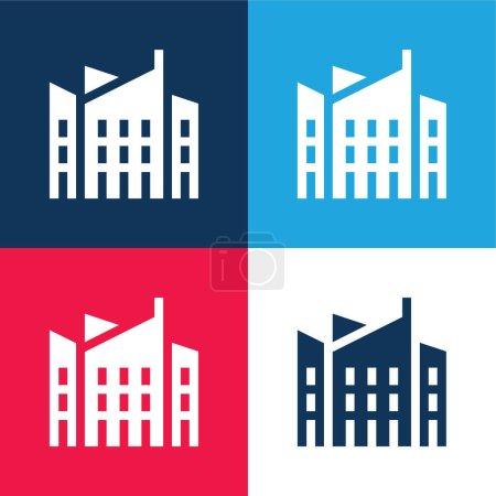 Photo pour Architecture bleu et rouge ensemble d'icônes minimes quatre couleurs - image libre de droit
