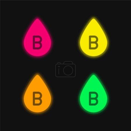 Photo pour B Type de sang quatre couleur rougeoyante icône vectorielle néon - image libre de droit