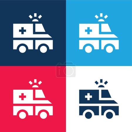 Illustration pour Ambulance bleu et rouge quatre couleurs minimum jeu d'icônes - image libre de droit