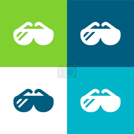 Illustration pour Big Lunettes de soleil Ensemble d'icônes minimal plat quatre couleurs - image libre de droit