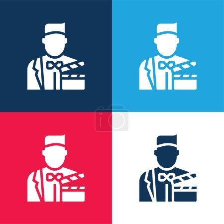 Photo pour Acteur bleu et rouge quatre couleurs minimum icône ensemble - image libre de droit