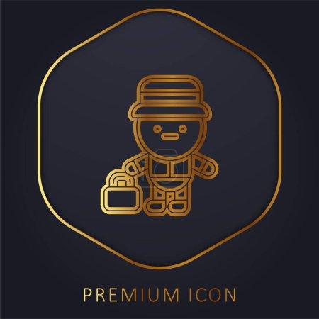Photo pour Bell Boy ligne d'or logo premium ou icône - image libre de droit