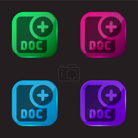 Photo pour Ajouter quatre icône de bouton en verre de couleur - image libre de droit