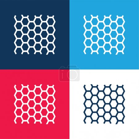 Photo pour Panneau d'abeilles Texture bleu et rouge ensemble d'icônes minimes quatre couleurs - image libre de droit