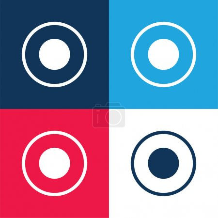 Atom Circular Symbol Of Circles blue and red four color minimal icon set