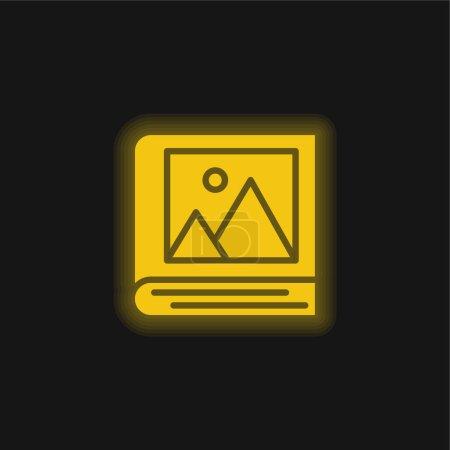 Illustration pour Album jaune brillant icône néon - image libre de droit