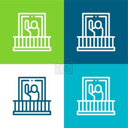Illustration pour Balcon Ensemble d'icônes minimal plat quatre couleurs - image libre de droit