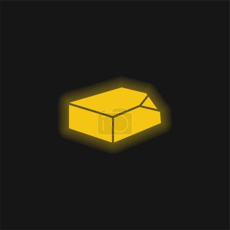 Illustration pour Boîte Organisation Outil jaune brillant icône néon - image libre de droit