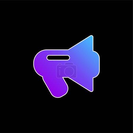 Illustration pour Icône vectorielle de dégradé bleu mégaphone noir - image libre de droit