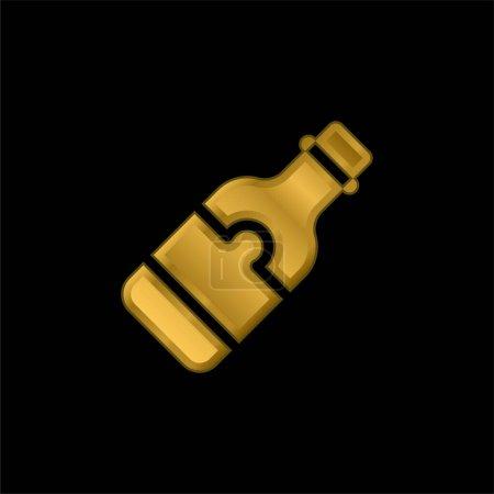 Illustration pour Bouteille de bière plaqué or icône métallique ou logo vecteur - image libre de droit