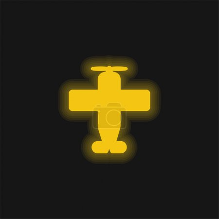 Illustration for Airplane With One Helix yellow glowing neon icon - Royalty Free Image
