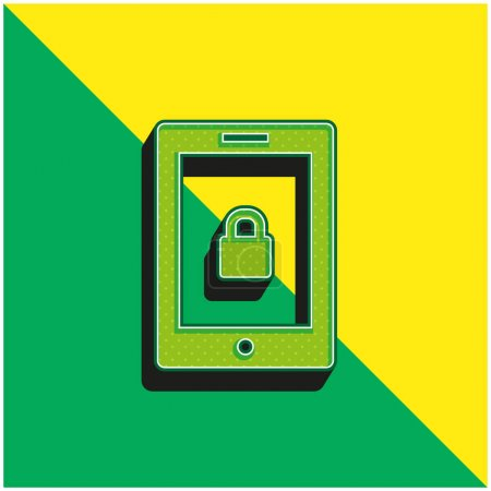 Blocked Tablet Green and yellow modern 3d vector icon logo