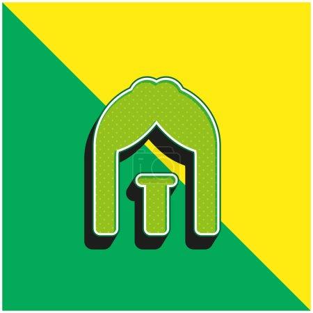Illustration pour Arc Logo vectoriel 3D moderne vert et jaune - image libre de droit