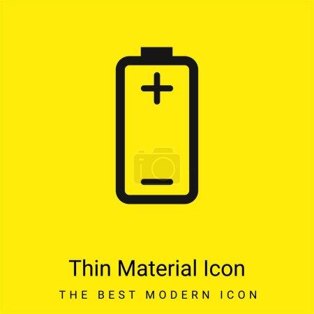 Photo pour Batterie avec des signes plus et moins de Polonais positifs et négatifs icône matérielle jaune vif minimale - image libre de droit