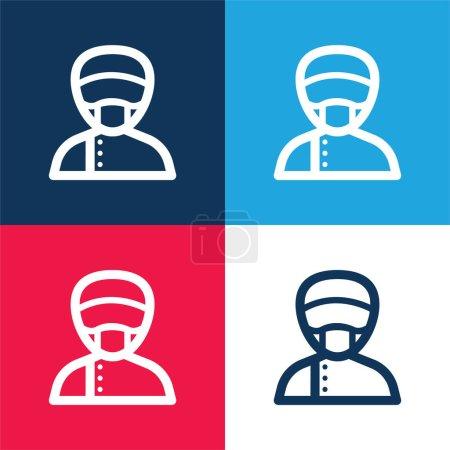 Photo pour Assistant bleu et rouge ensemble d'icônes minimes quatre couleurs - image libre de droit