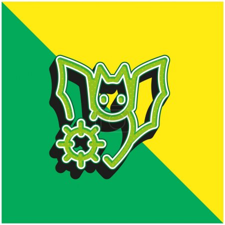 Illustration for Bat Green and yellow modern 3d vector icon logo - Royalty Free Image