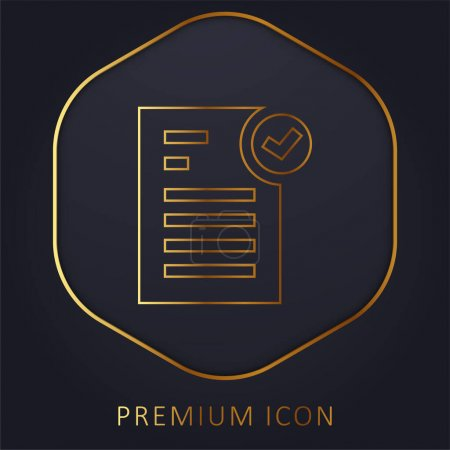 Illustration for Approved golden line premium logo or icon - Royalty Free Image
