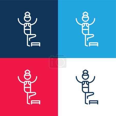 Illustration pour Ensemble d'icônes minime aérobie bleu et rouge quatre couleurs - image libre de droit