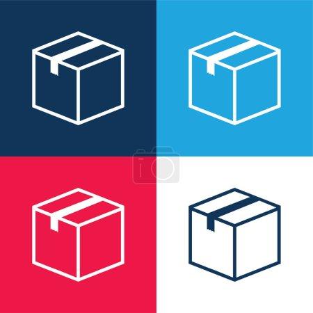 Illustration pour Coffret fermé bleu et rouge quatre couleurs minimum jeu d'icônes - image libre de droit
